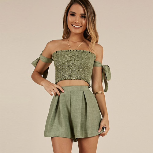 a925a80c61 2 Piece Set Women Outfits Strapless Tie Sleeve Tube Crop Top And High Waist  Shorts Two