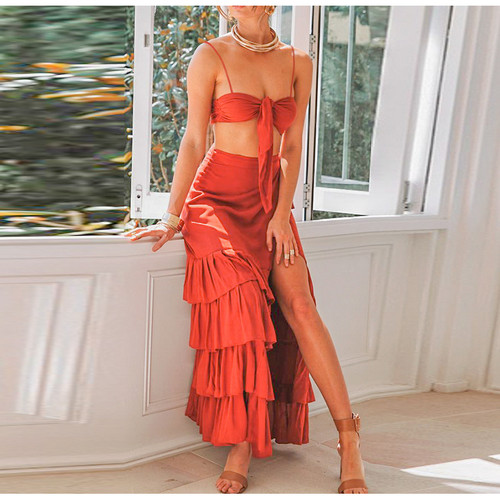 Women Skirt Suit 2 Pieces 2019 Summer Sexy Spaghetti Strap Crop Tops Girl Wrap Lace up Long Skirt Casual Holiday Beach Dress