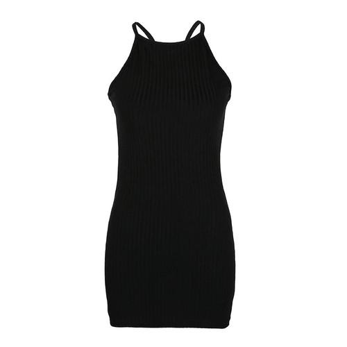 d1e7c1a4bd8 Women Sleeveless Knitted Bodycon Dress 2019 Summer High Elastic Slim Sexy  Halter Mini Dress Vestidos