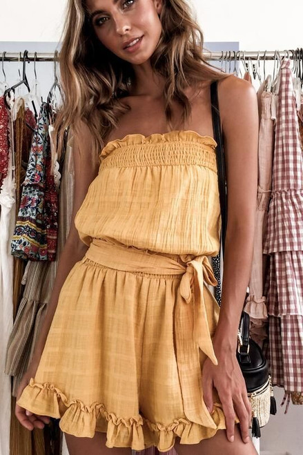 Off Shoulder Yellow Jumpsuit Sexy Playsuit Women Rompers Sleeveless Overalls Bodysuit combinaison femme body mujer