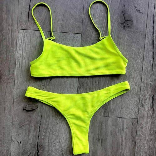 54091a0f4038 Fluorescent Sports Bikinis 2019 Mujer Sling Push Up Bikini Low Waist Thong  May Women Separate Swimsuit ...