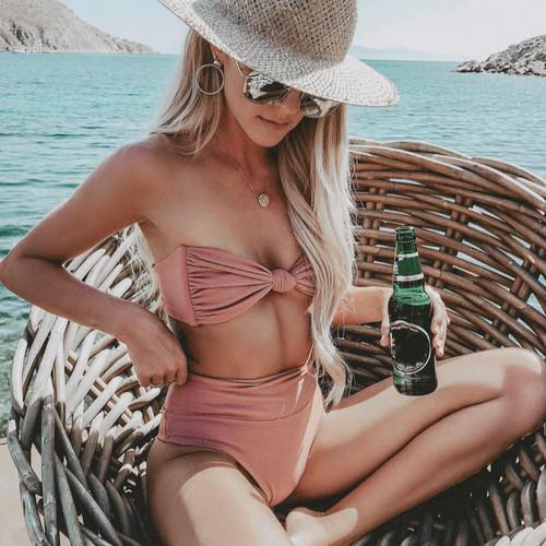 HOT Bikinis 2019 Mujer Tube Top Tie High Waisted Bikini Separate Swimsuit May Women Swimwear Female Tankini Swimming Suit Badpak