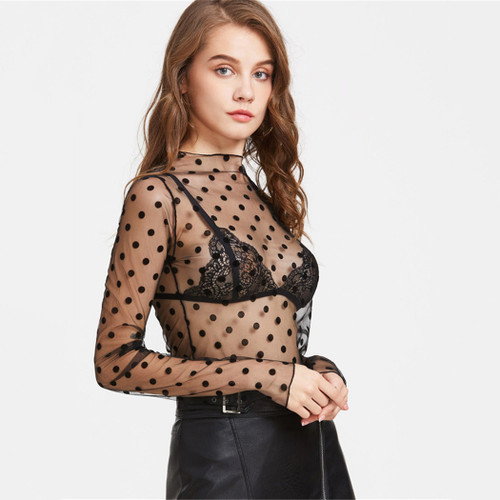 Black Polka Dot Mesh Sheer Top Women Sexy Perspective Textured Long Sleeve Blouse Female Slim Club Party Blouses Blusa Feminina