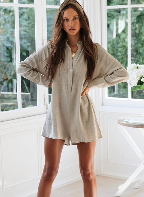 Loose Summer Playsuit Overalls For Women Long Sleeve Casual Button Shirt Rompers Boho Beach Short Jumpsuit outfits 970