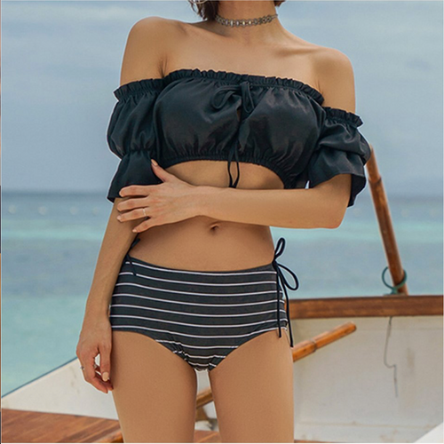 Women Two pieces Off-Shoulder Swimming suit&Sun protection Cover up Amphibious beach wear Wire Bathing suit
