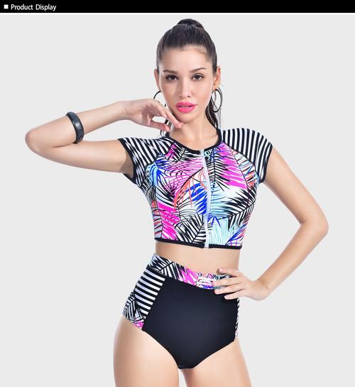 New Zipper Two Piece Rush Guard Women Sexy Patchwork Swimsuit High Waist Surf Swimwear Print Short Sleeve Tankini Bathing Suit