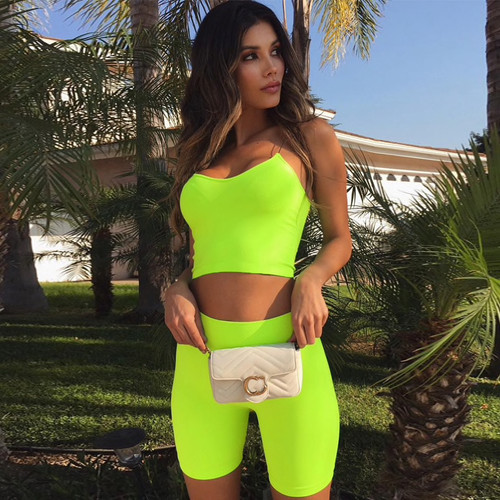 Neon Green Fashion Women's Sets Camis Crop Tops Tank Summer Sexy Outfits Two Pieces Set Casual Biker Shorts