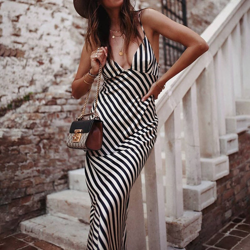 Striped Sexy Maxi Dress Women Elegant Party Dresses Bohemia Spaghetti Strap Backless Slip Dress Summer Beach Holiday Vestido