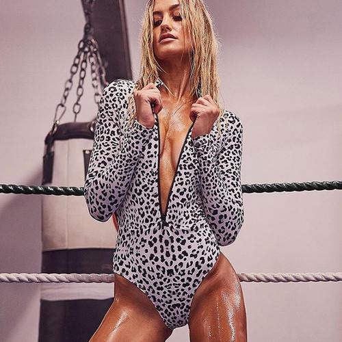 Leopard Print Sexy Slim Fit Bodysuit Long Sleeve Zipper Deep V Skinny Bodycon Club Party Women Spring Summer Jumpsuit