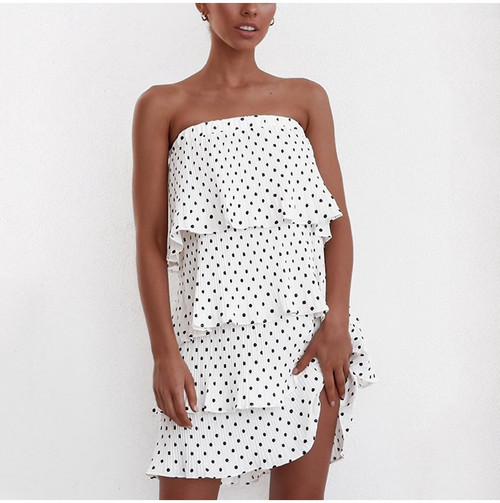 Elegant Polka Dot Two Way White Dress Summer 2019 Sexy Beach Strapless Sundress Cascading Ruffles Vintage Short Dress