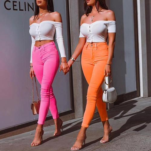 2019 Women Summer Pencil Pants Capris Winter Casual Streetwear Solid Ladies Slim Fit High Waist Skinny Pants For Women Female