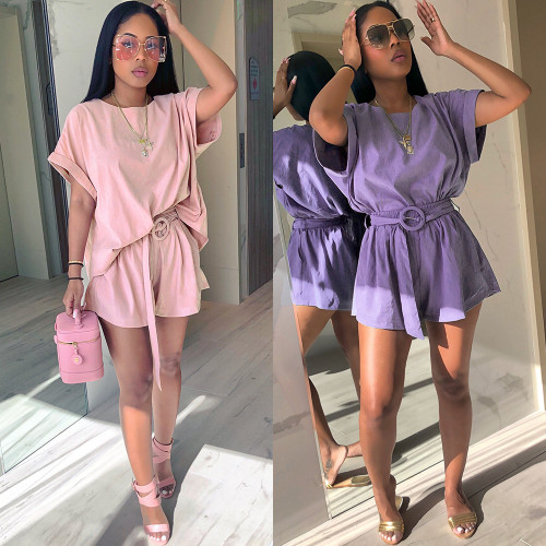 Sashes Solid Purple Pink Set Casual Loose Top And Shorts 2 Piece Set Women O Neck Elastic Waist Summer Two Piece Set