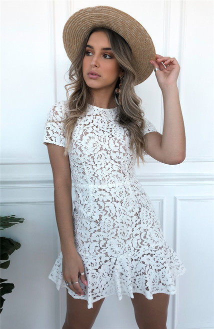 Sexy Women Summer Dress 2019 Backless O Neck Ruffle Lace Dress Vintage Holiday Mini White Dresses Female Vestidos