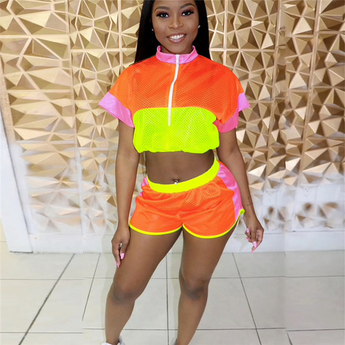 Color Patchwork Breathable Women Tracksuit Summer Two Piece Set Zipper Short Sleeve Crop Top Shorts Outdoor Outfits
