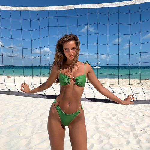 Sexy Bandeau Bikini Bandage Swimwear Women Solid Swimwear 2019 Bathing Suits Rings Bikini Set Hollow Out Biquini Swimwear Green
