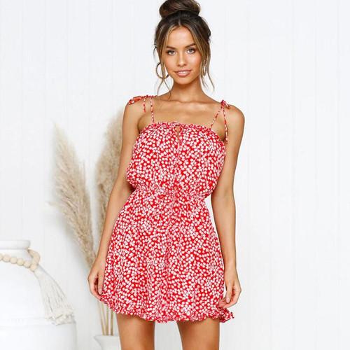 Women Boho Mini Dress Floral Printed Sleeveless Tied Frill Open Back Fashion Summer Sundress Vacation Beach Wear vestidos 2019