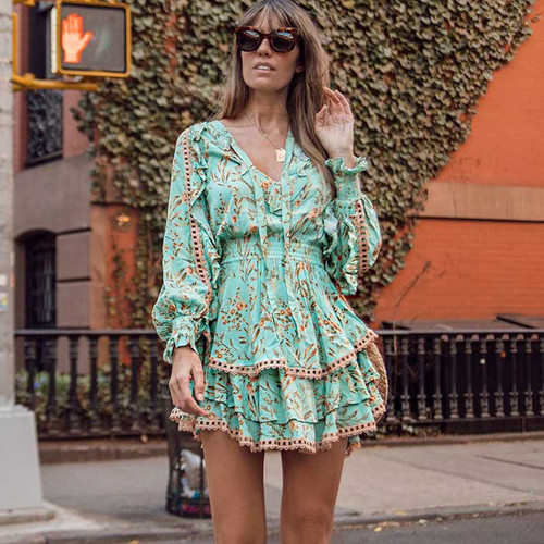 BOHO INSPIRED Gypsy Playdress dress 2019 rayon Turquoise summer Dresses mini women dresses long sleeve party BOHO Dress vestidos