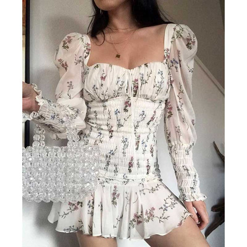BOHO INSPIRED floral print summer Dress square neckline tied front slim sexy mini dress for women ruffles hem new 2019 vestidos