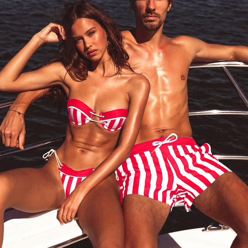 Sexy Beach Couple wear Women's Bandeau Bikini Set and Men's swimming trunks 2019 Striped Swimwear Swimsuit Bathing Suit Beachwear Red