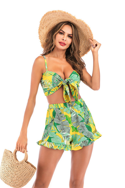 Boho 2 Piece Set Outfits Jungle Knotted Shirred Cami and Flounce Hem Shorts Women Vacation Strap Green Leave Print Summer Sets
