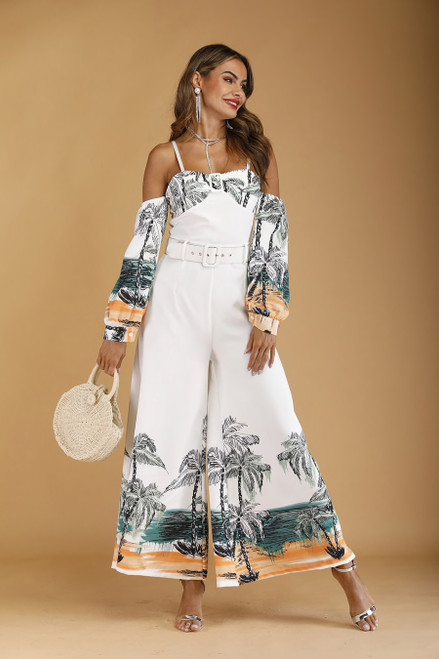 Tropical Print Long Sleeve Cami Jumpsuit Women Summer 2019 Boho Vacation Casual Maxi Wide Leg Jumpsuit with Belt