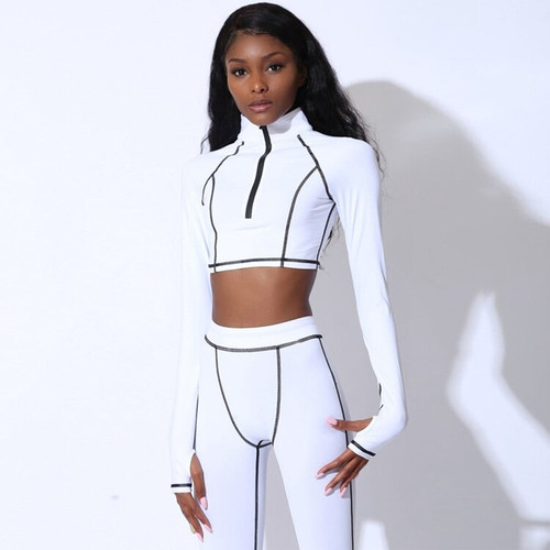 Fitness 2 Piece Set Tracksuits 2019 Summer Women Long Sleeve Crop Top and Leggings Set Casual Zipper Sporty Outfits