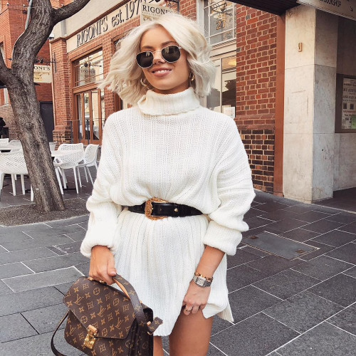 Long Sweaters Dress For Women Loose Striped Split Knitting Turtleneck Pullover Over Size Sweaters Winter 2019