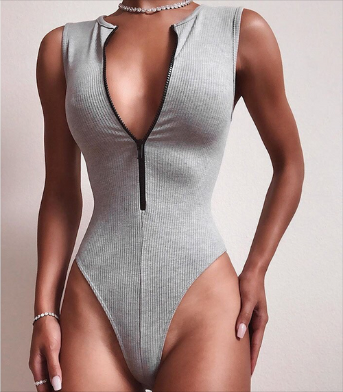 Casual Bodysuit with Zipper Women Bodys Fitness Sleeveless Bodycon Slim Casual Basic Knitted Overalls 2019 New Fashion