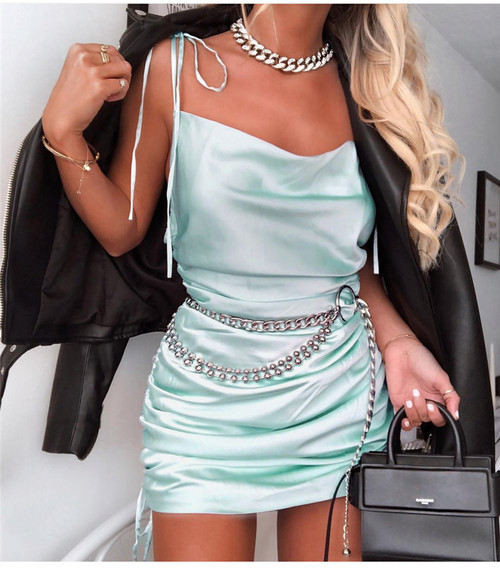 Sexy Summer Dress 2019 Women Spaghetti Straps Bodycon Dress Slim Stretch Multi Wear Ruched Club Satin Dress Vestidos New