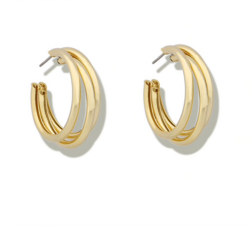 Gold Silver Color Multi Hoops Earrings for Women Simple Three Circle Hoop Earrings Bohemia Geometric Round Earrings