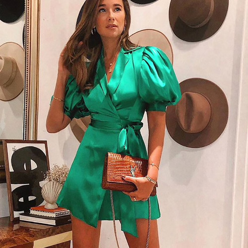 Green Wrap Dress Lantern Sleeve Sexy V-Neck Bodycon Dresses Women Autumn 2019 Bow Mini Dress Short Party Club