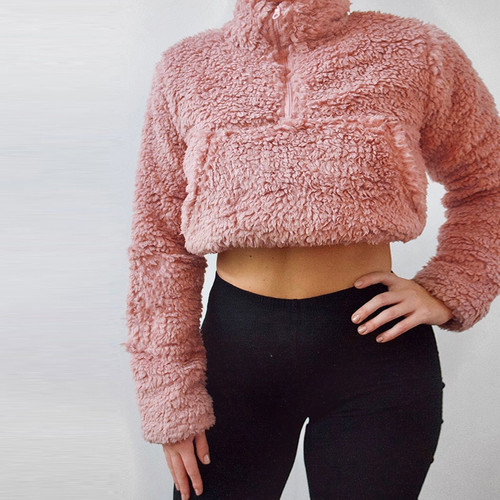 Hairy Solid Sweatshirt For Women Zipper Long Sleeve Pullovers Crop Top 2019 Autumn Winter Casual Sweatshirt Slim