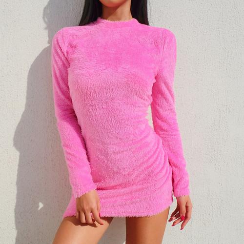 Sexy Hairy Bodycon Dress Women Autumn 2019 Fashion Dresses Party Long Sleeve Clubwear Furry Solid Basic Mini Dress Slim