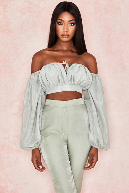 2019 Fashion Green Two Piece Set Satin Jumpsuit Suit Women Off The Shoulder Long Sleeve Casual Jumpsuit