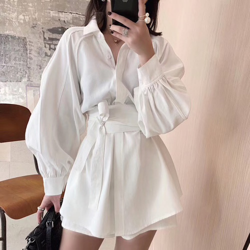 2019 New Spring Summer Lapel Hubble-bubble Sleeve Shirt High Waist Shorts Two Piece Suit Women Fashion Tide