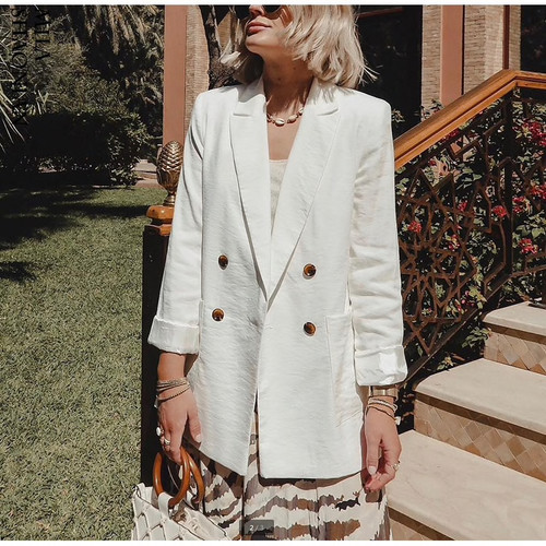 Double Breasted White Black Blazer Female Long Sleeve Office Ladies Blazer 2019 Autumn Jacket Women Outerwear Suit Coats