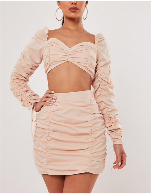 Double Layers Two Piece Dresses Set Autumn Sexy Party Club 2 Piece Outfits Women Mini Dresses V Neck Solid Dress