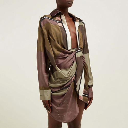 Print Hit Color Dress Women Lapel Collar High Waist Asymmetrical Ruched Female Dresses Female 2019 Autumn Fashion New