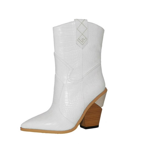 White Beige Black Yellow Faux Leather Cowboy Ankle Boots for Women Wedge High Heel Boots Snake Print Western Cowgirl Boots 2019