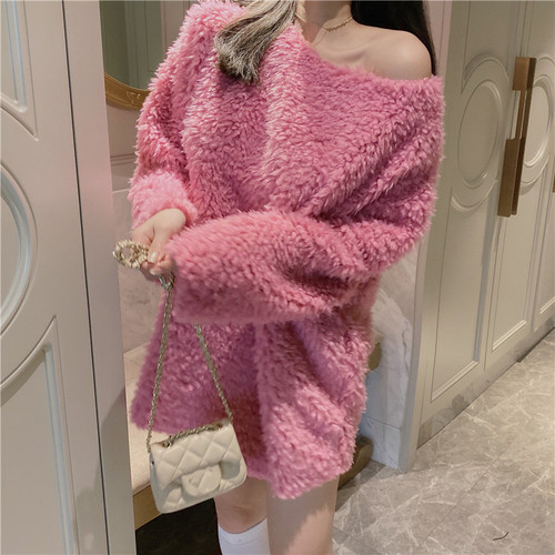Candy Color Fuzzy Pullover Plus Size Women Solid Color Medium Long Sweater Winter Tops For Woman Fashion 2019