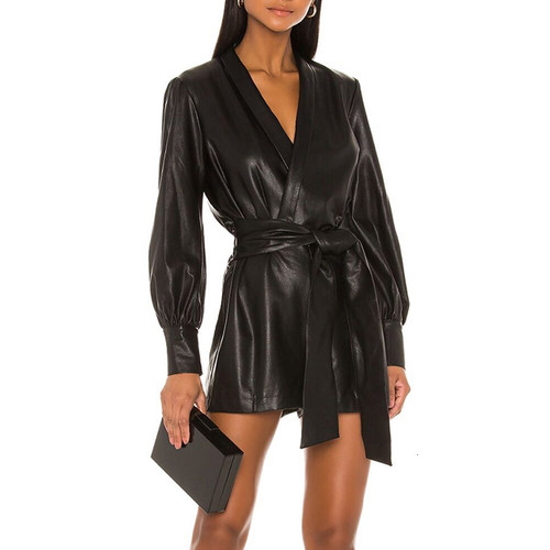 Black PU Leather Playsuits For Women V Neck Lantern Long Sleeve High Waist Lace Up Playsuit Female Fashion 2019 New
