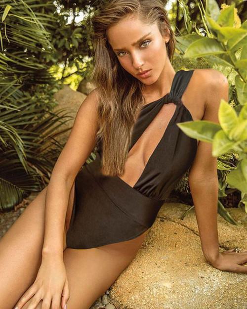 One Shoulder Swimsuit Deep V Neck Swimwear Hollow Out Bikini Solid Biquini Women Bathing Suit One-Piece-Suits Monokini