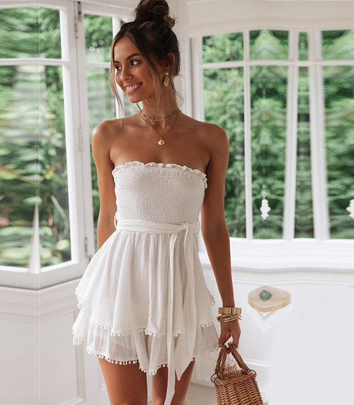 Off Shoulder Blue Dress Women Backless White Ruffles Dress Summer with Belt Sexy Slash Neck Cotton Linen vestidos 868
