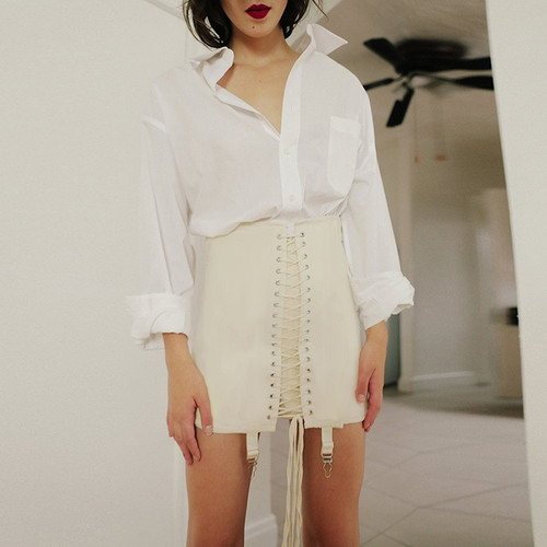 2020 New Vogue Women Summer Harajuku Fashion Streetwear Skirts Hole Cross Bandage High Waist Bodycon Sexy Packet Hip Short Skirt