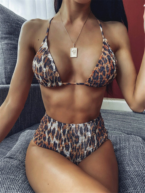 Bikini 2020 mujer Bandage Swimwear Women Leopard String Beachwear Push Up Separate Bandeau Sexy Bodysuit Swimsuit biquini