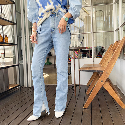 Autumn Fashion Women Denim Jeans 2019 High-waist Straight Jeans for Women Side Split Jeans Vintage Female Long Pant