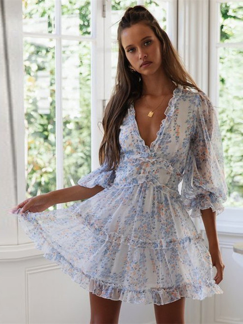 2020 Women Summer Sexy Deep V Long Sleeve Print Dresses Bohemian Backless Elegant Ruffles Summer Beach Dresses DM0011