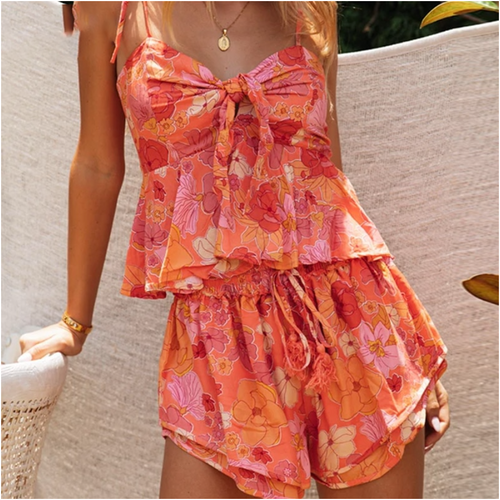 Boho Tropical Flower Print 2 Piece Set Women Casual Bow Tie Crop Top and Shorts Suit Cool Girls Beach Drawstring Shorts
