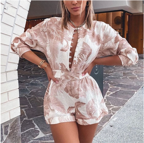 Palms Print Spring Playsuit Women Summer Short Linen Romper Women O-Neck Button Ladies Summer Shorts Playsuit