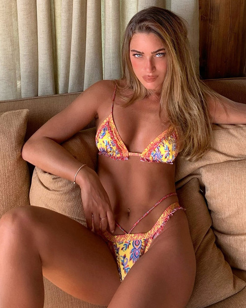 2020 Vintage Print Bikini Female Handwork Small Ruffle Swimming Suit For Women Swimwear High Cut Bikini Set String Biqui Yellow